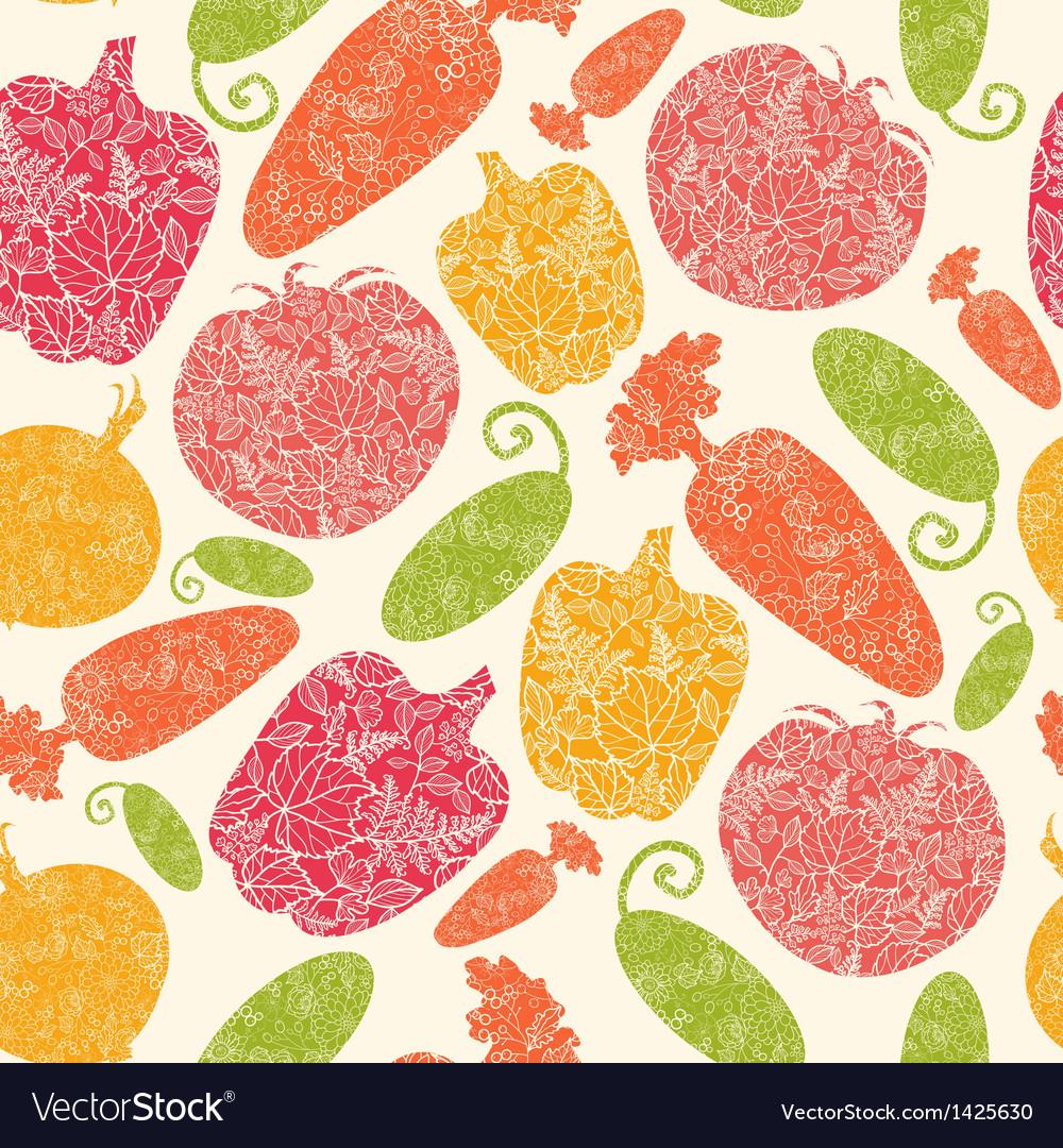 Textured vegetables seamless pattern background