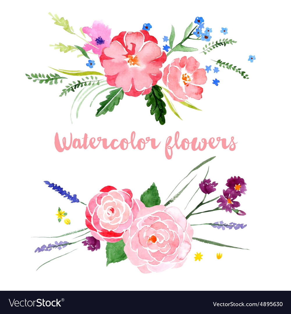 Watercolor Floral Borders Vector Image
