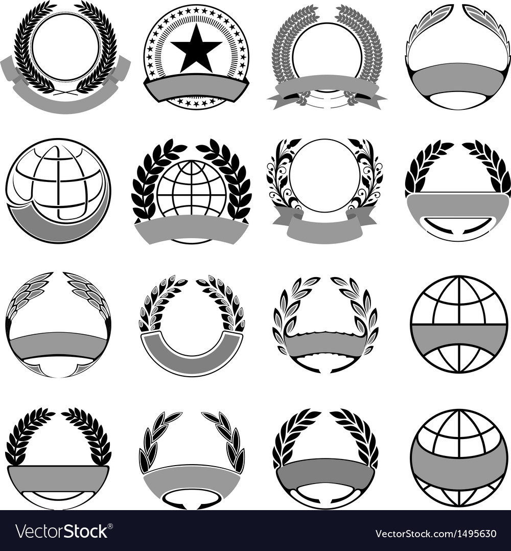Wreath and ribbons set vector image