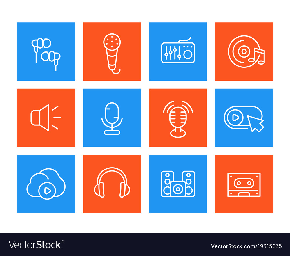 Audio line icons set sound recording microphones vector image