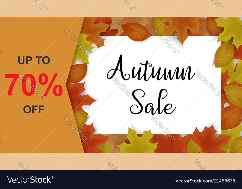 Autumn sale background decor with autumn maple