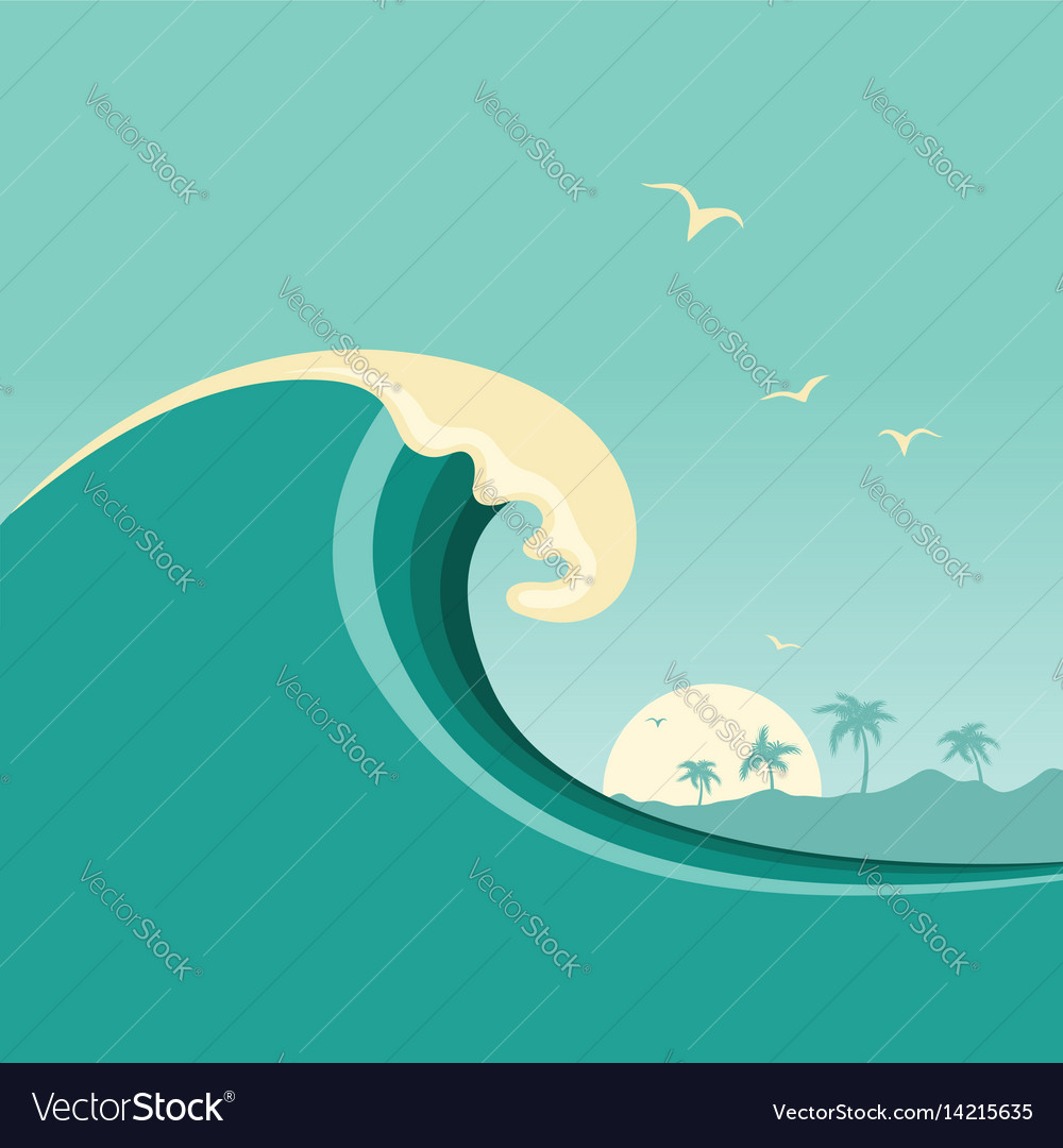 Big ocean wave and tropical island poster