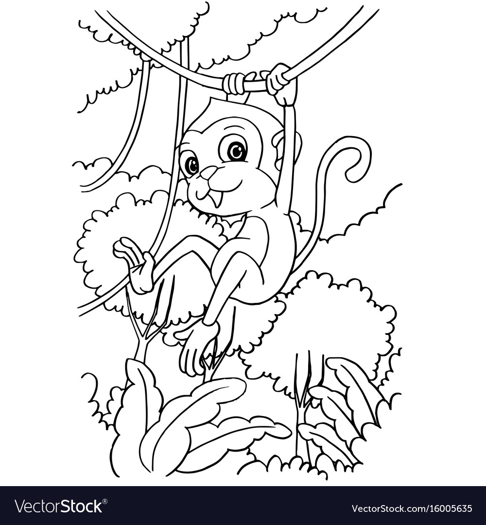Cartoon monkey playing in the forest coloring page
