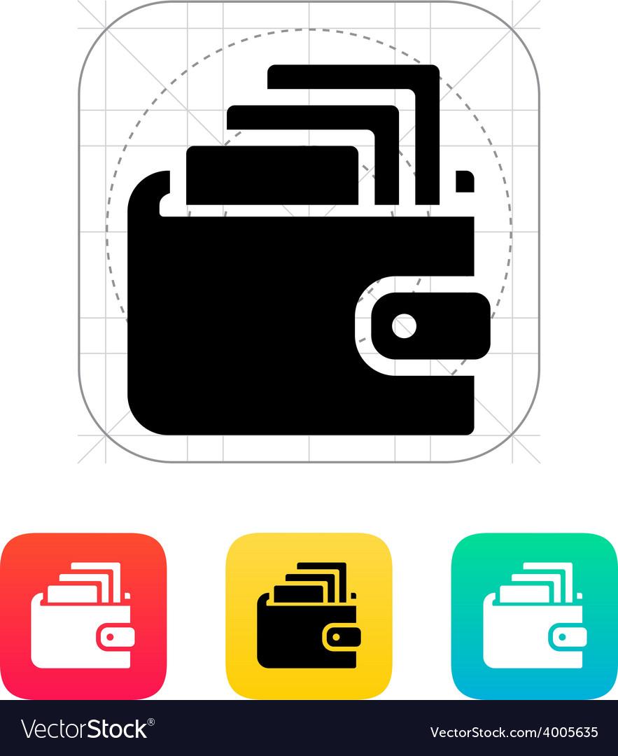 Cash in wallet icon vector image