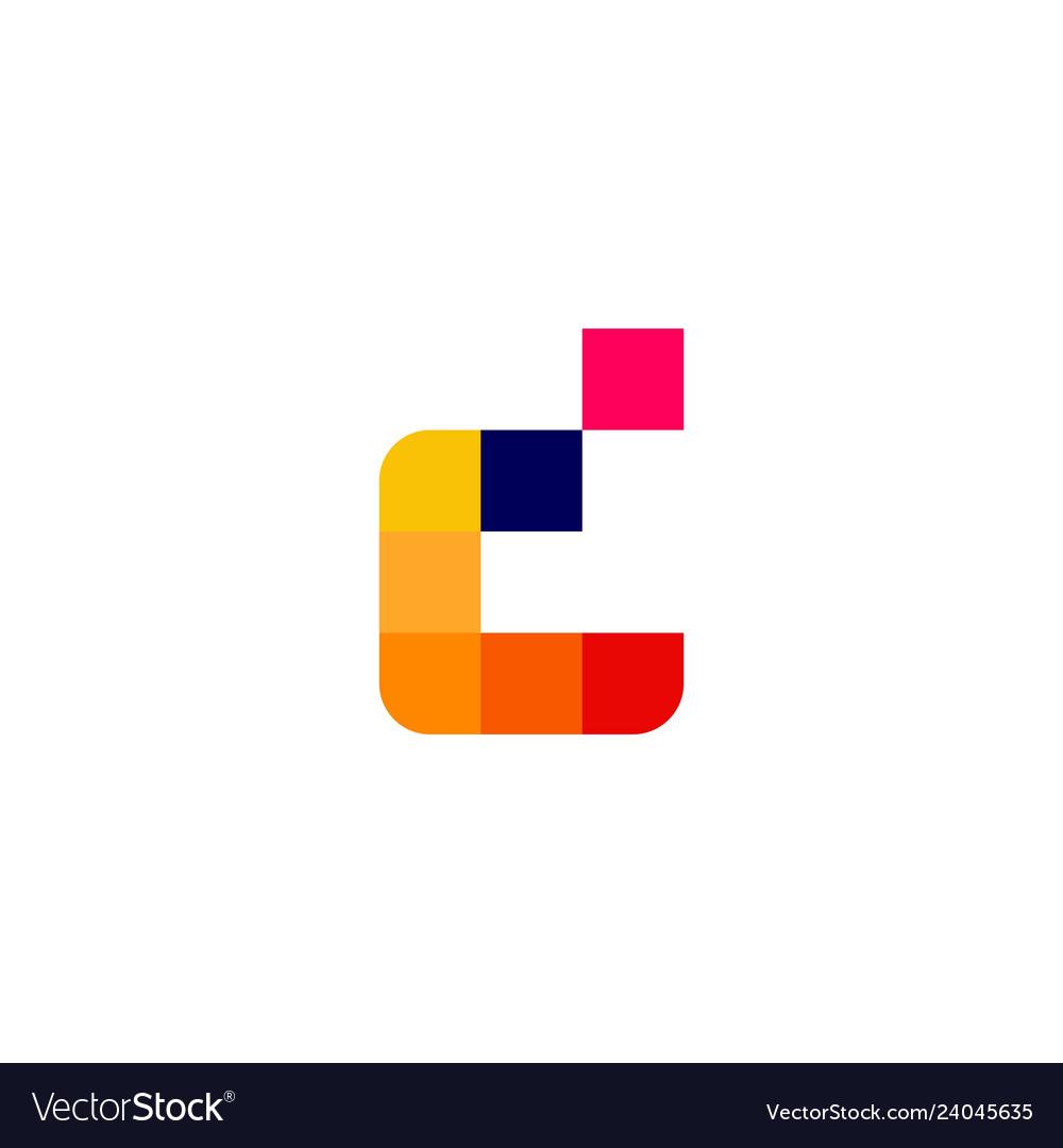 D letter pixel digital logo icon