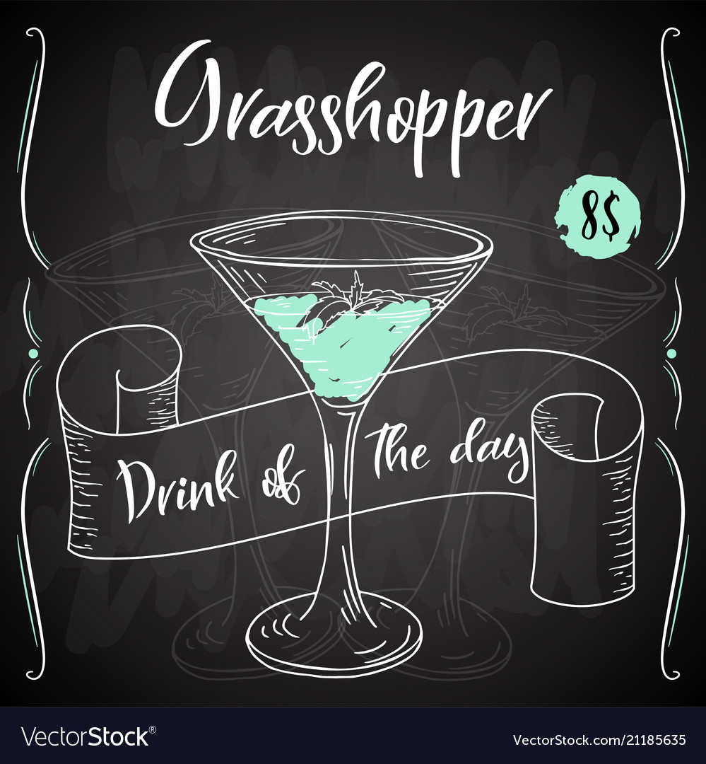 Grasshopper Cocktail Hand Drawn Drink On White Vector Image