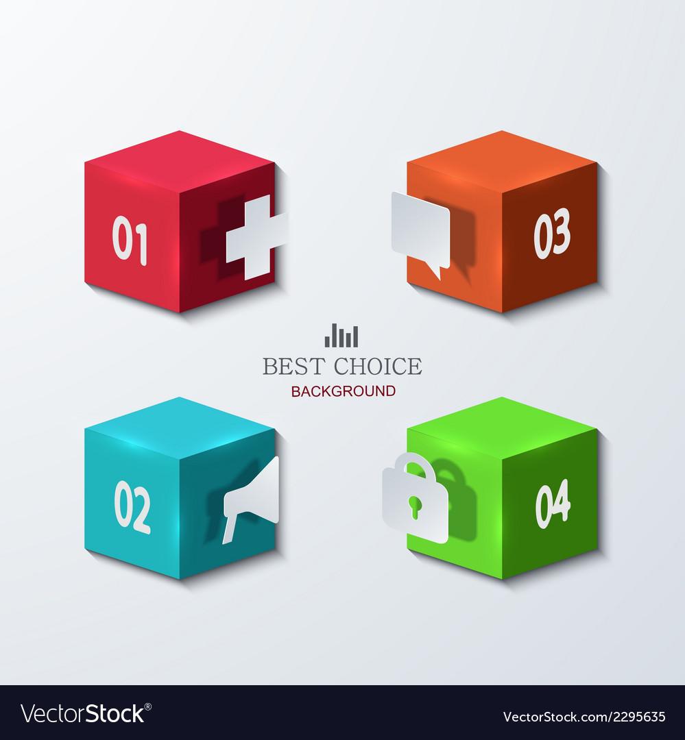 Modern cube infographics element design