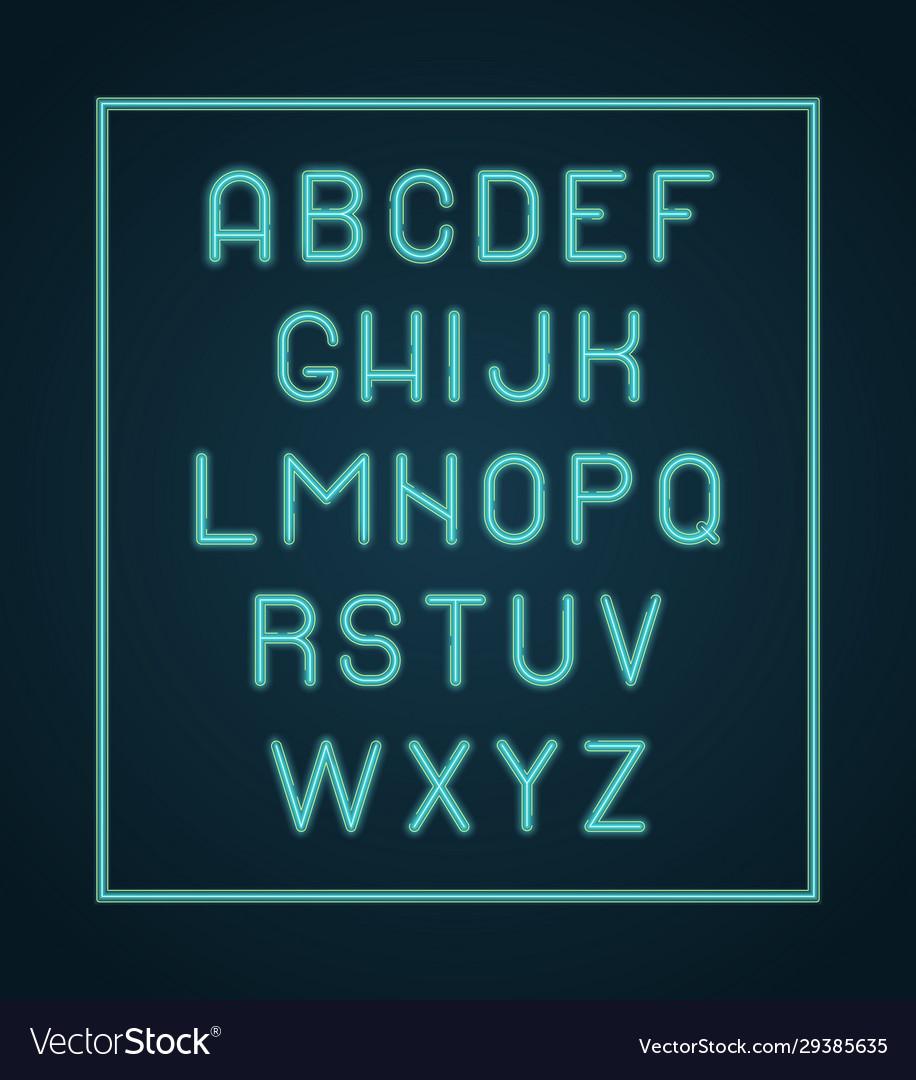 Neon alphabet lighting letters glow font