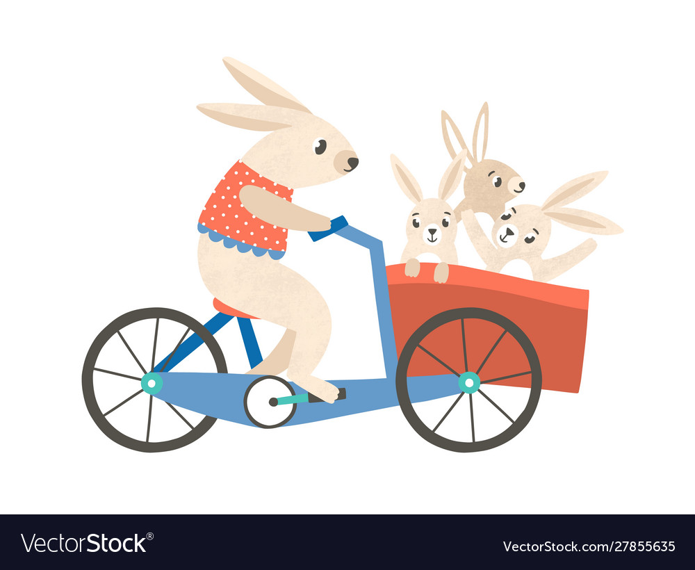 Rabbit mom with kids riding bicycle flat