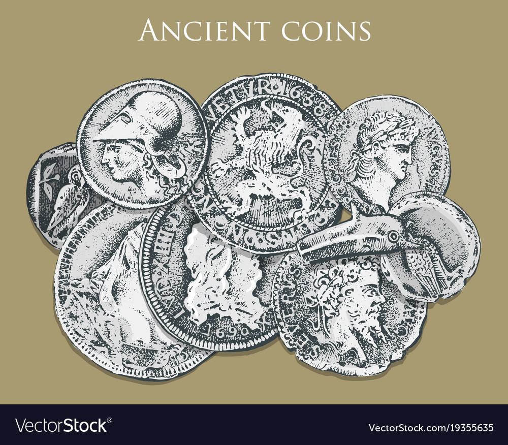 Set ancient coins or money roman and greek cash