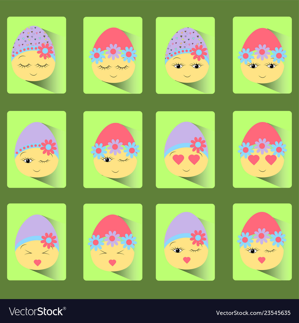 Set of icons of twelve easter eggs-smile