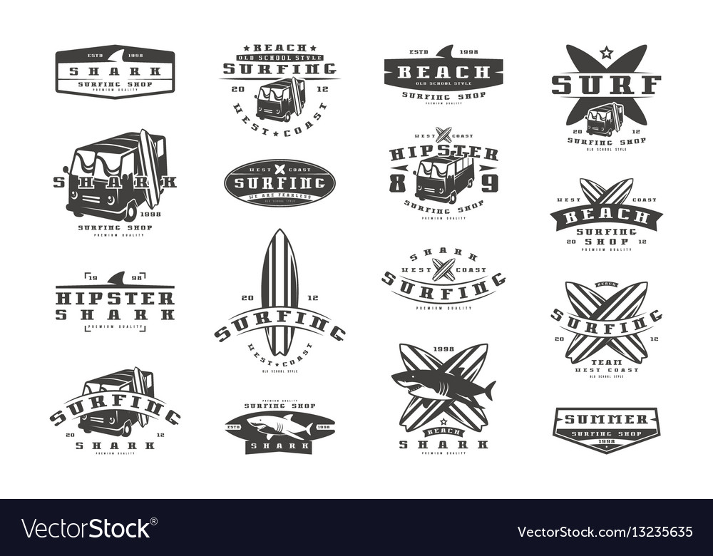 Set of surfing emblems graphic design for t-shirt