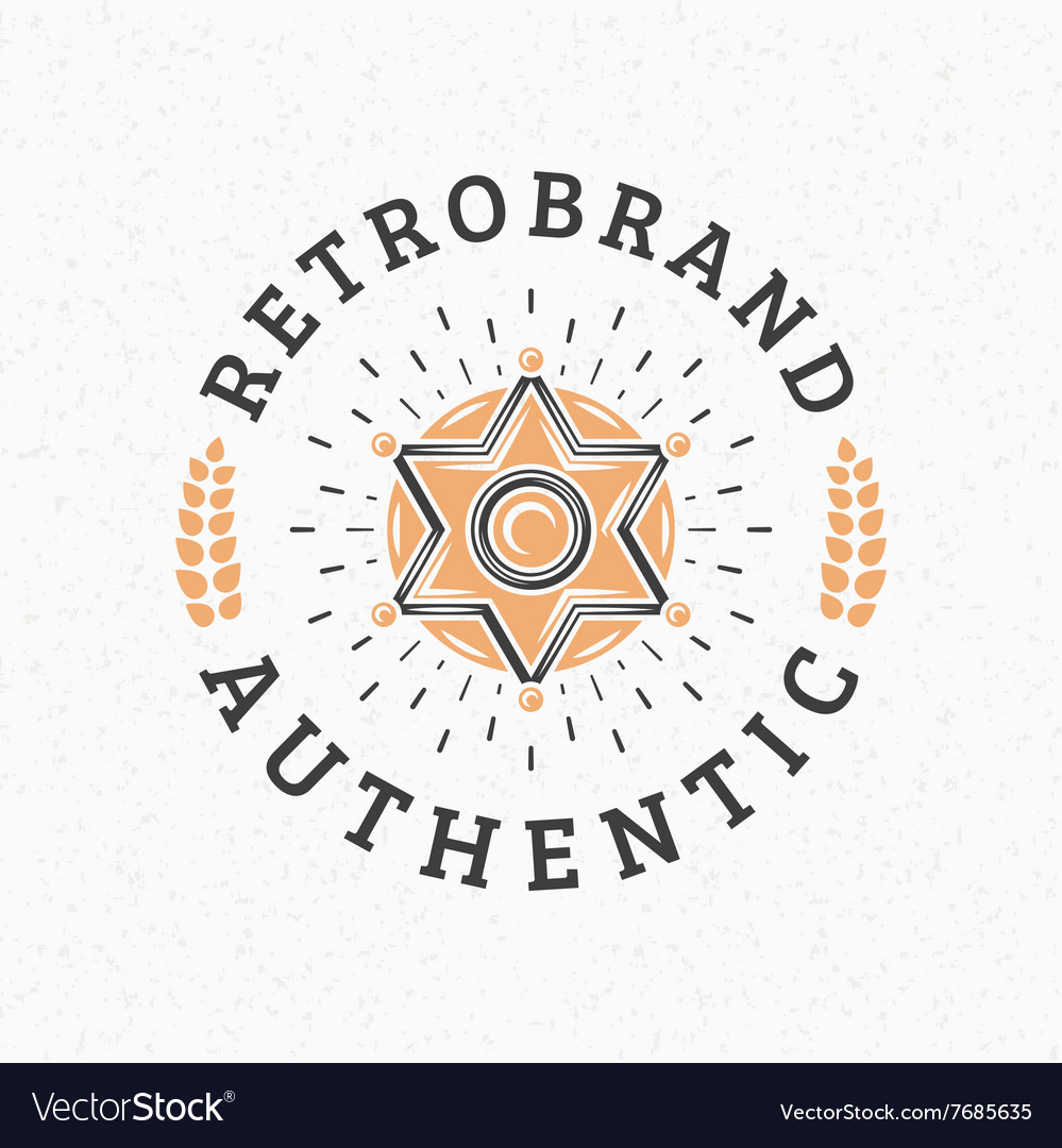 Sheriff Badge Vintage Retro Design Elements For Vector Image
