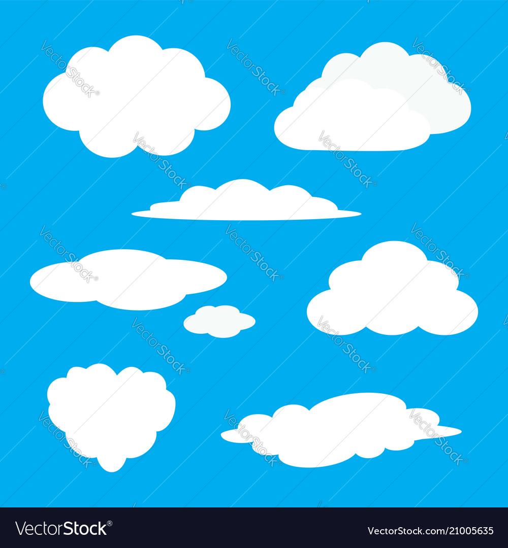 White cloud icon set fluffy clouds cute cartoon