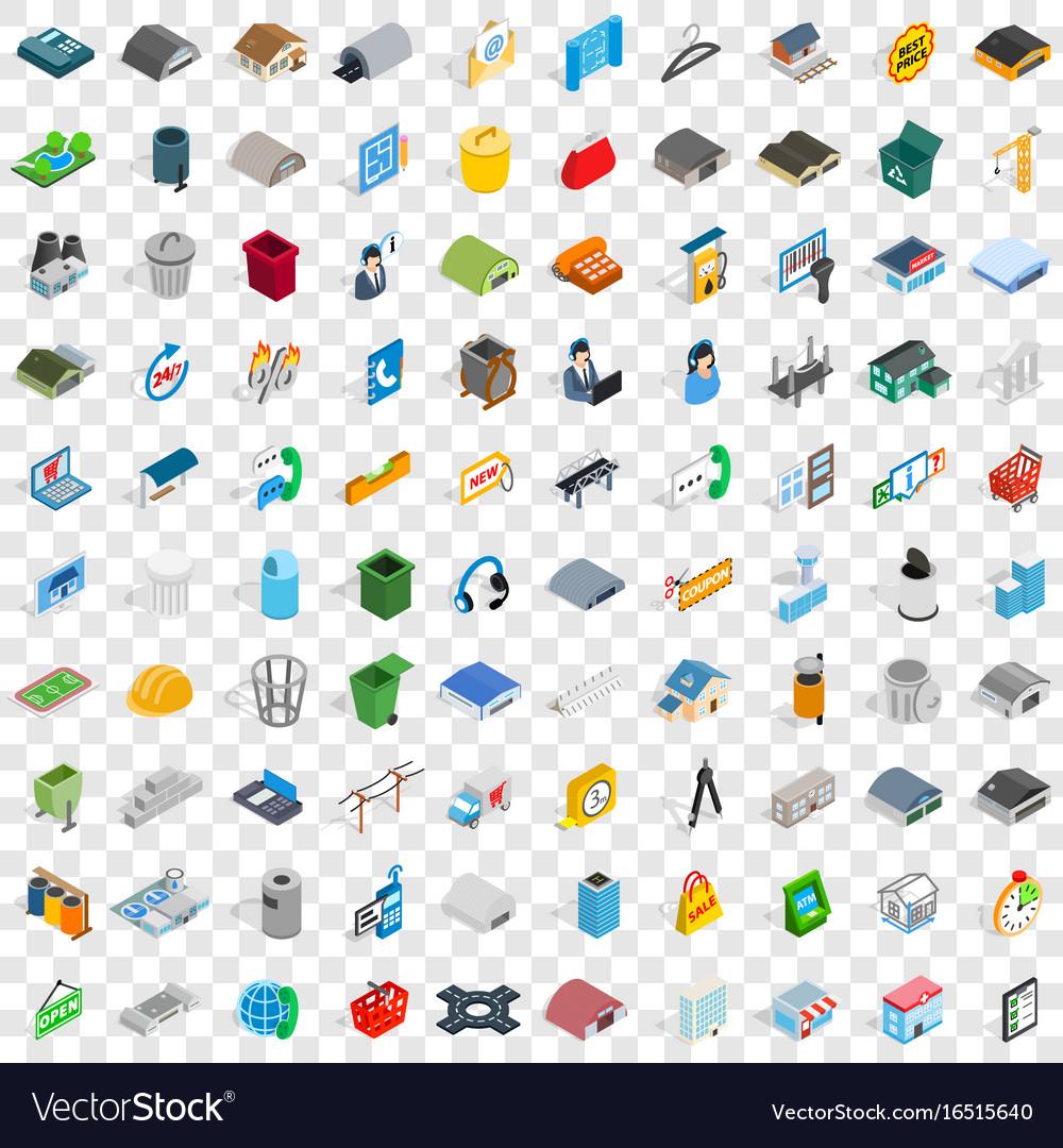 100 urban icons set isometric 3d style