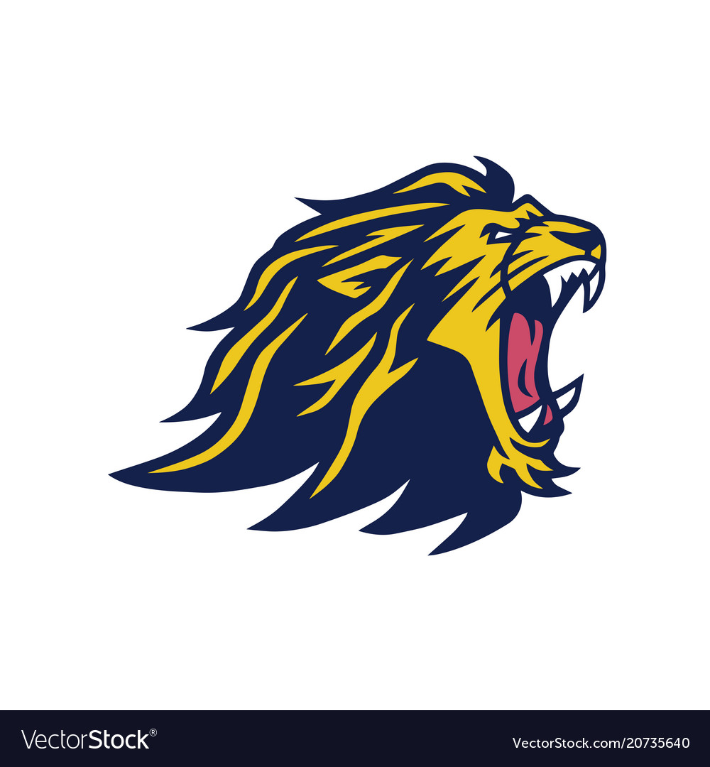 Angry lion head mascot design