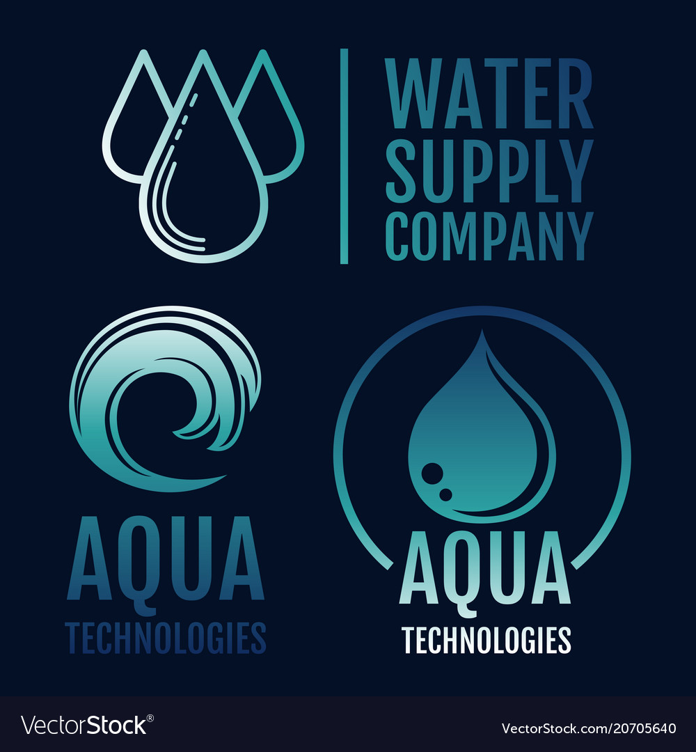 Clean water logo collection water supply and aqua