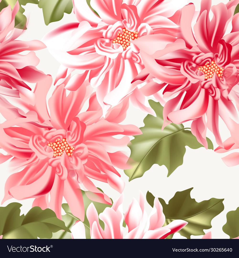 Dahlia sunflower seamless realistic pattern