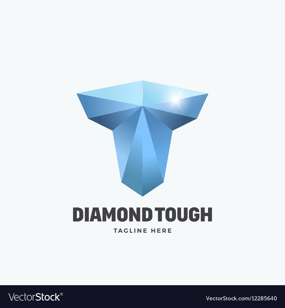 Diamond tough letter t abstract emblem