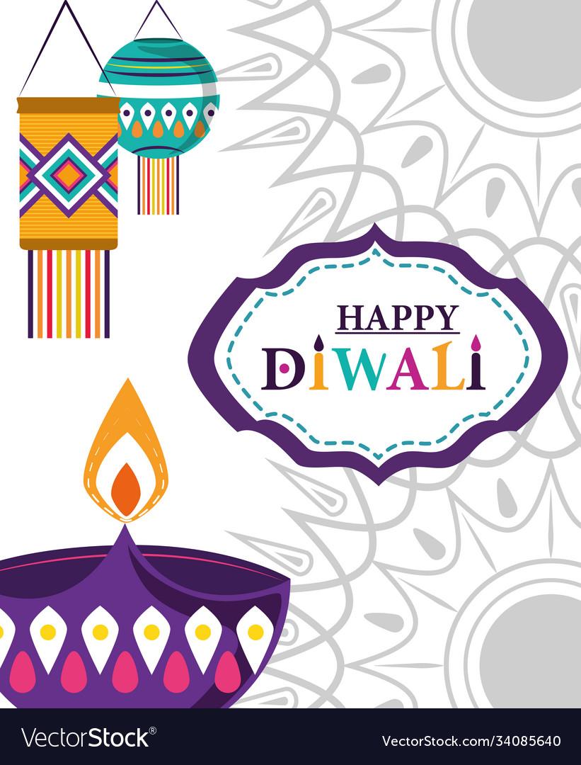 Happy diwali festival diya lamp light lanterns