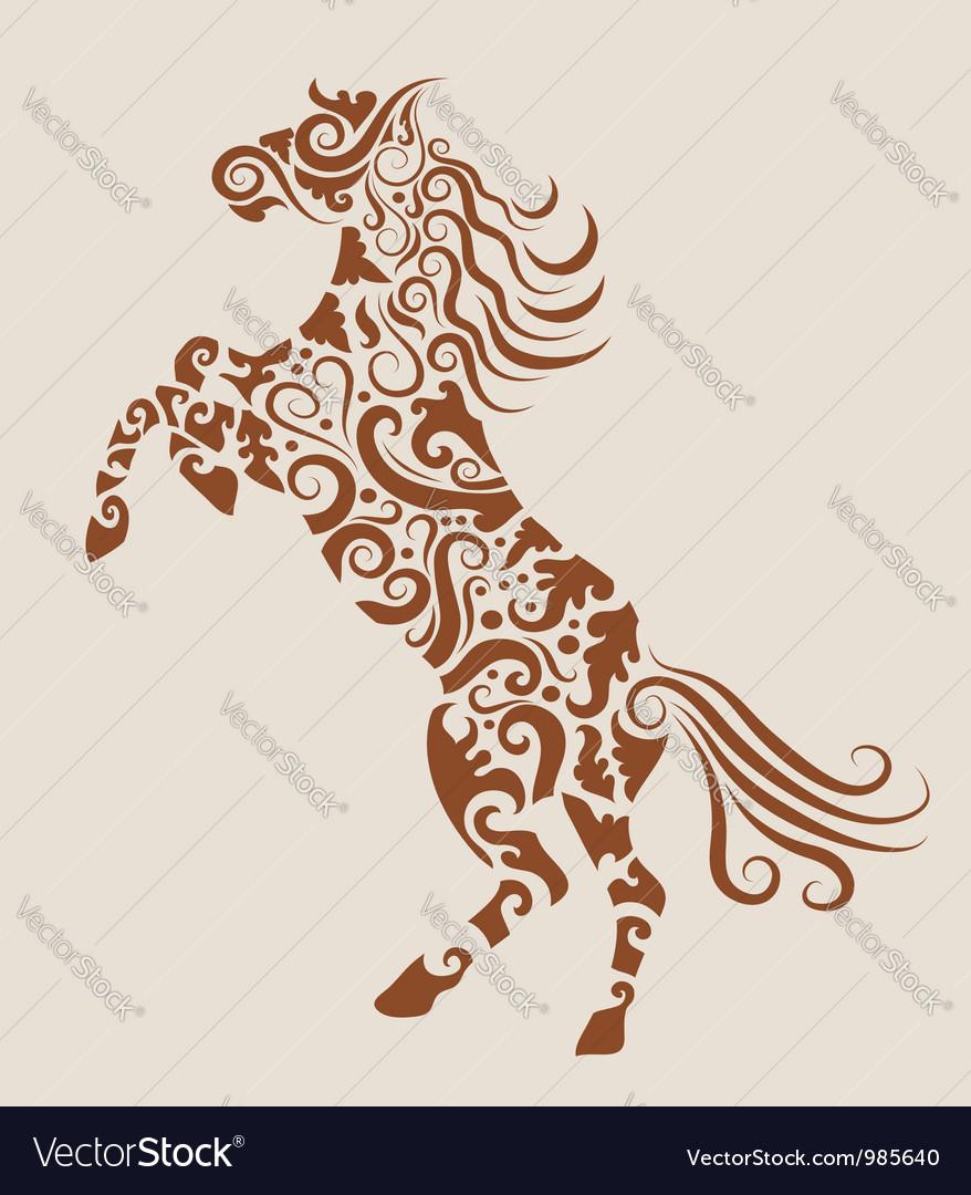 Horse floral ornament
