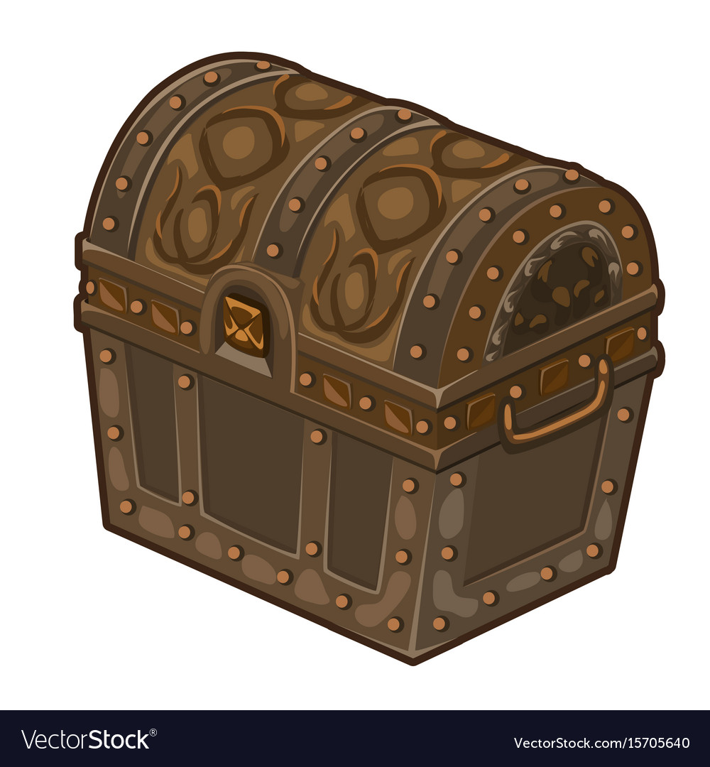 Old classic closed treasure chest isolated