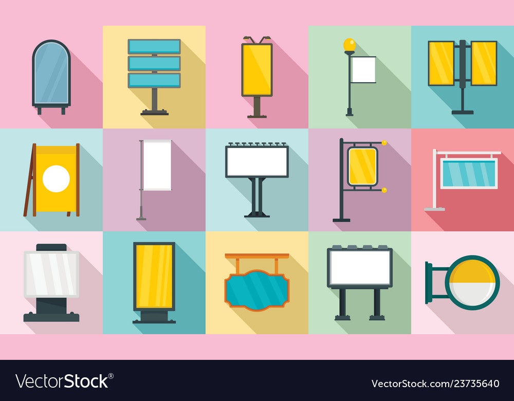 Outdoor advertising icons set flat style