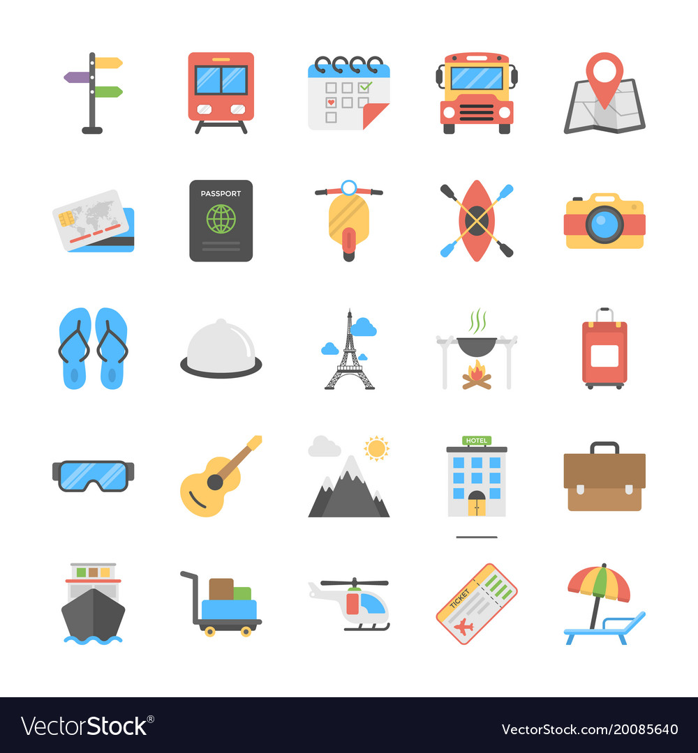 Outdoor travel and camping flat icons