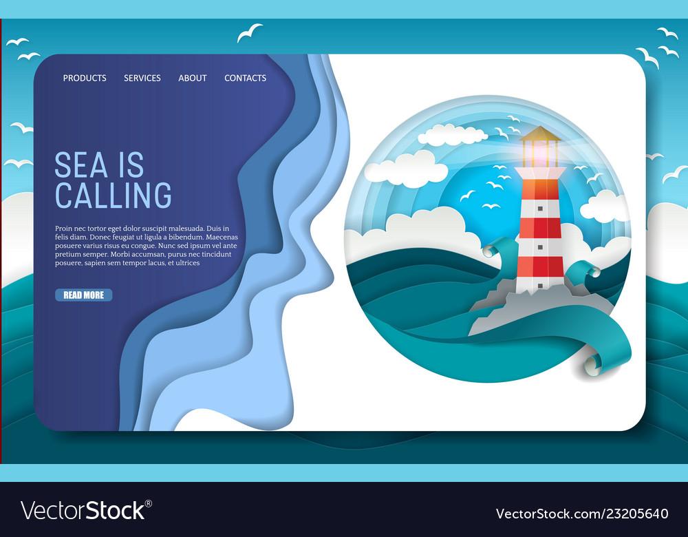 Paper cut lighthouse landing page website