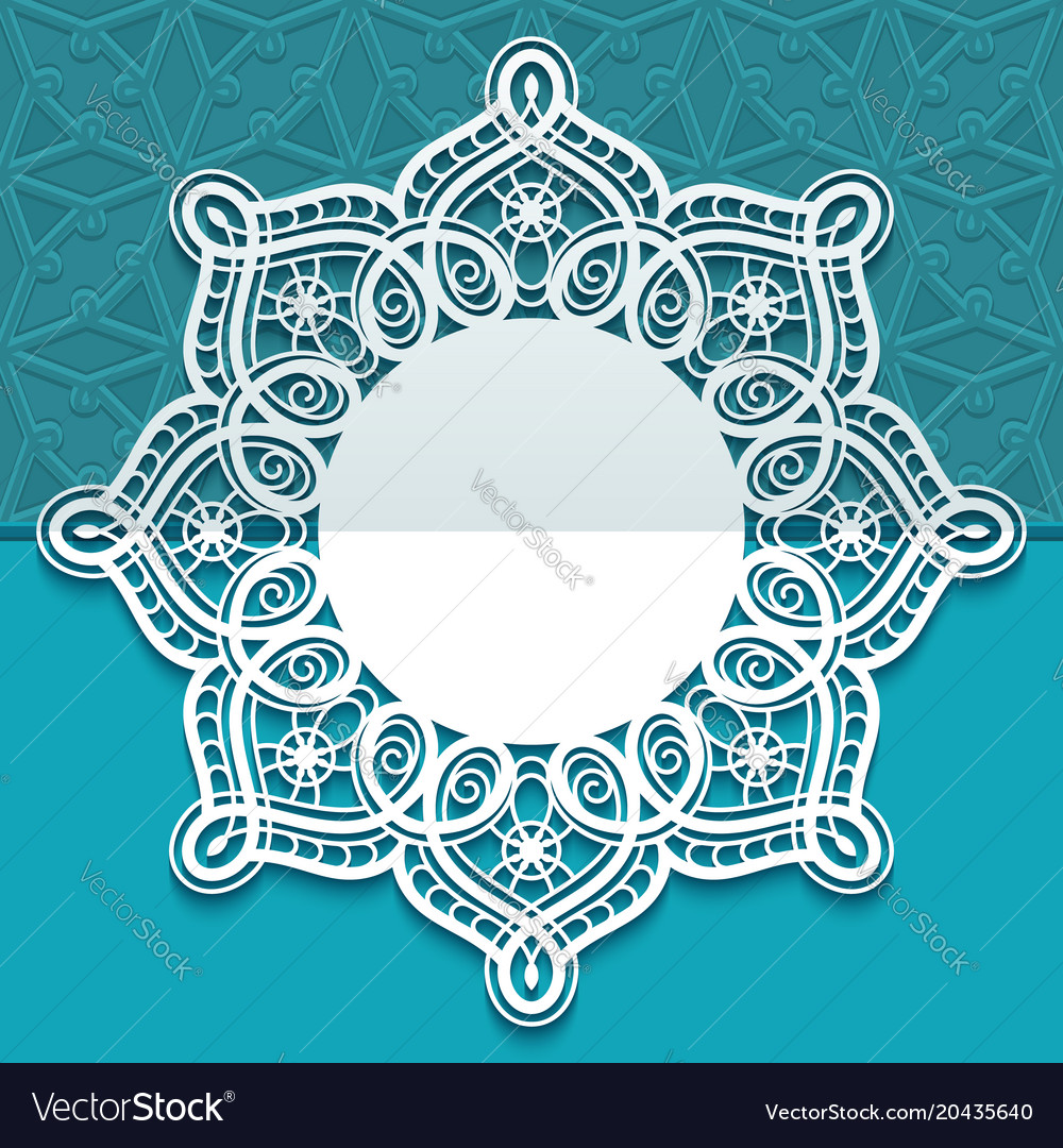 Round greeting card with lace border pattern
