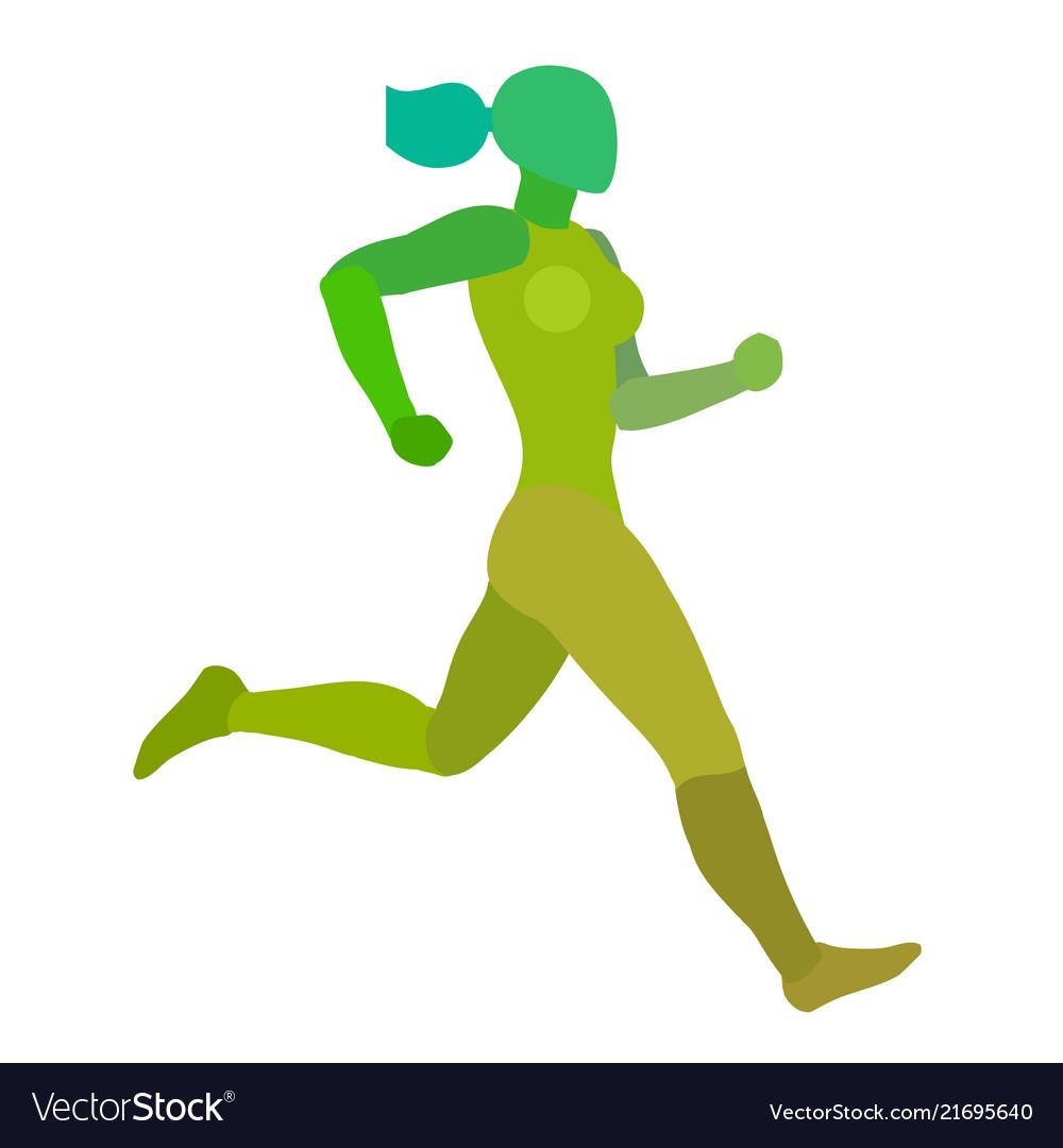 Running woman jogging girl green silhouette