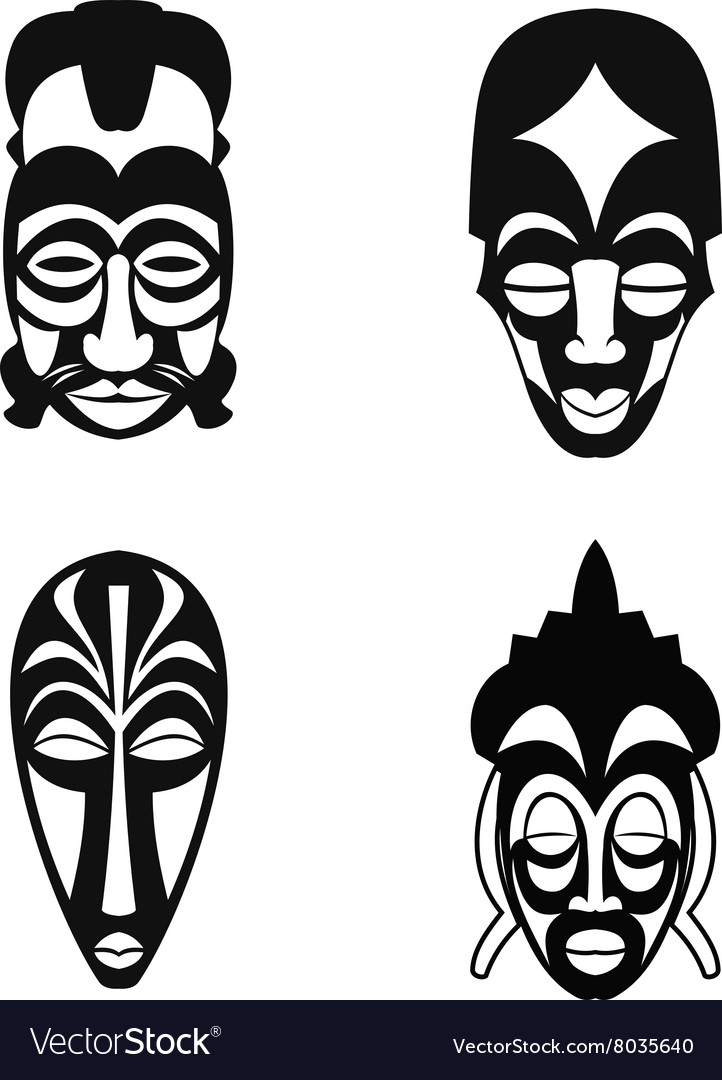 set of african ethnic tribal masks royalty free vector image
