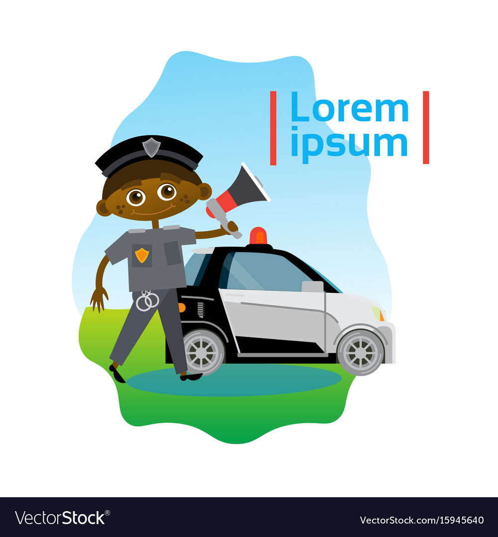 Small boy policeman over police car african