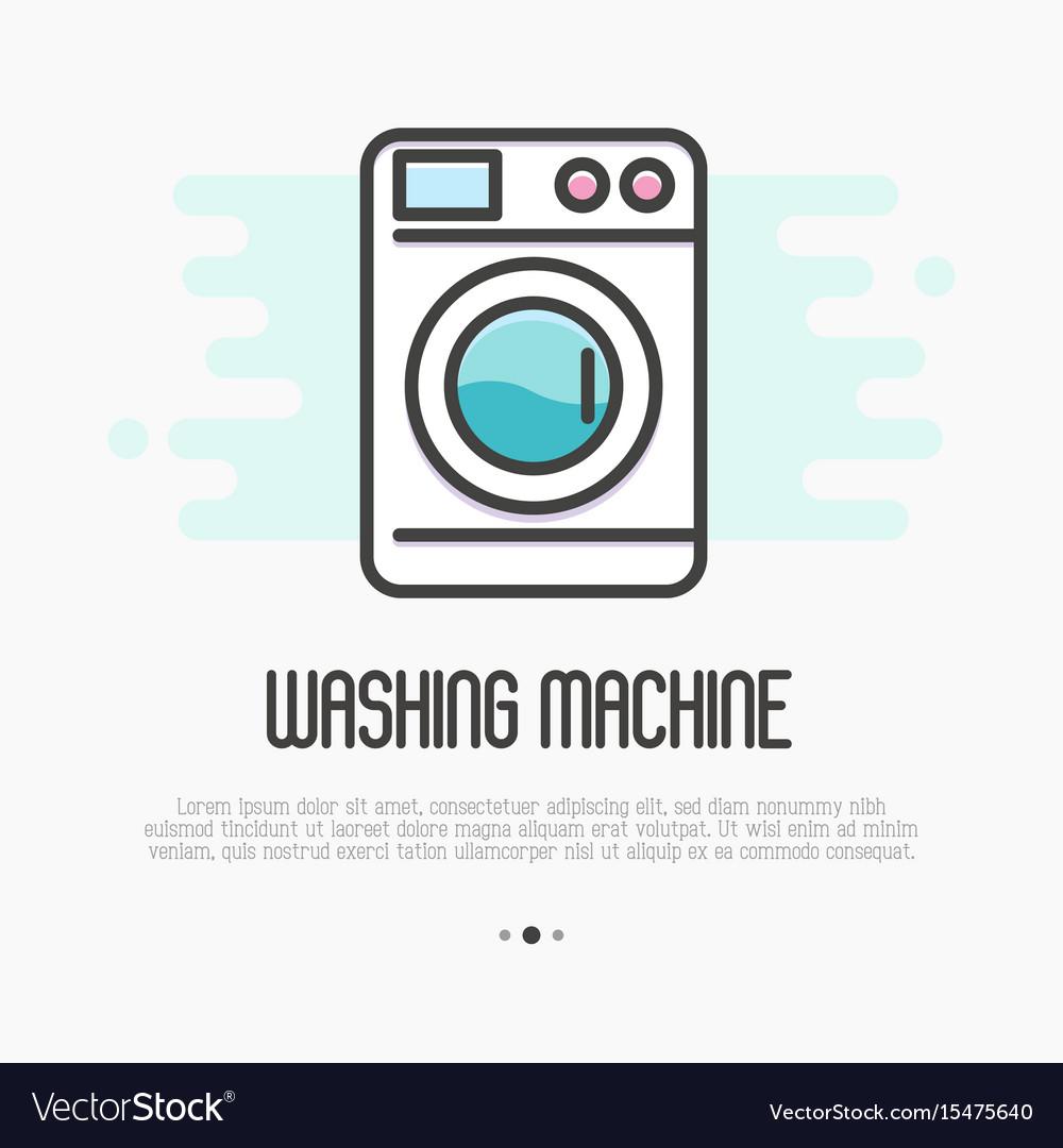 Washing machine thin line icon