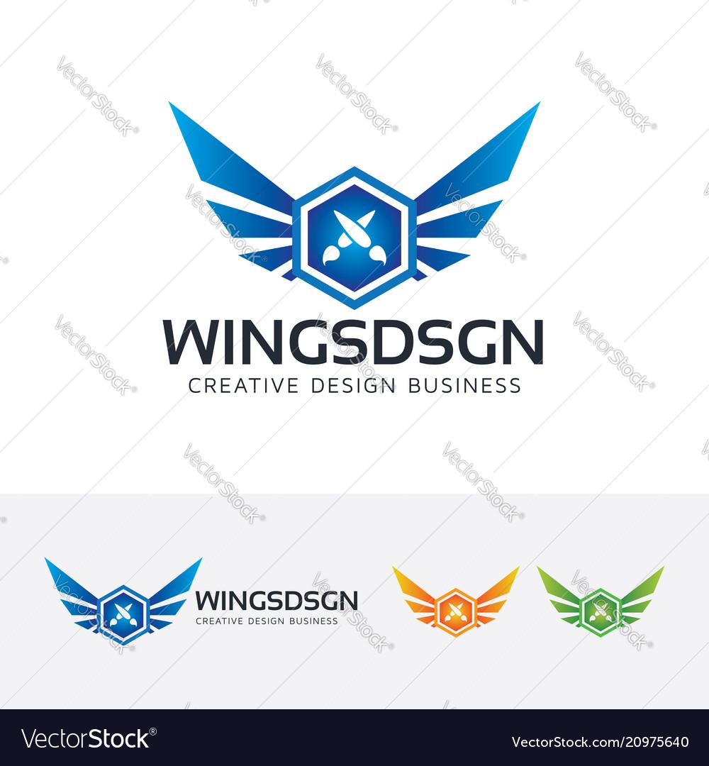 Wings design logo design vector image