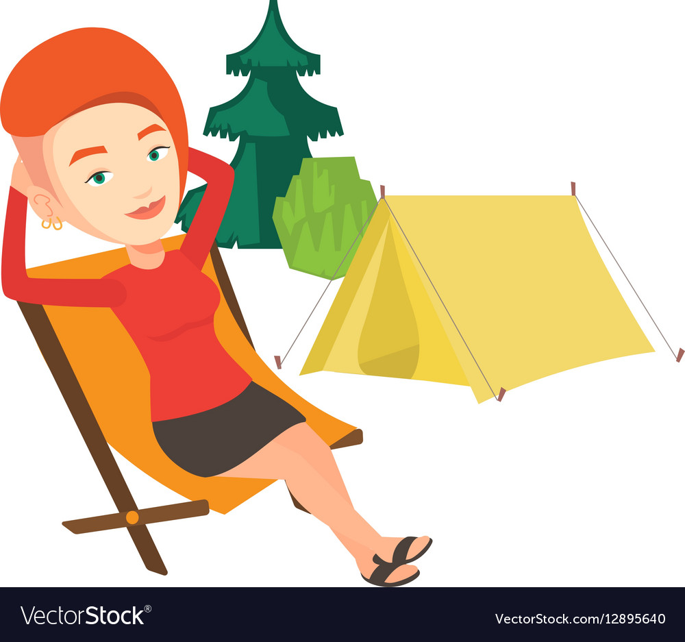 Woman sitting in folding chair in the camp