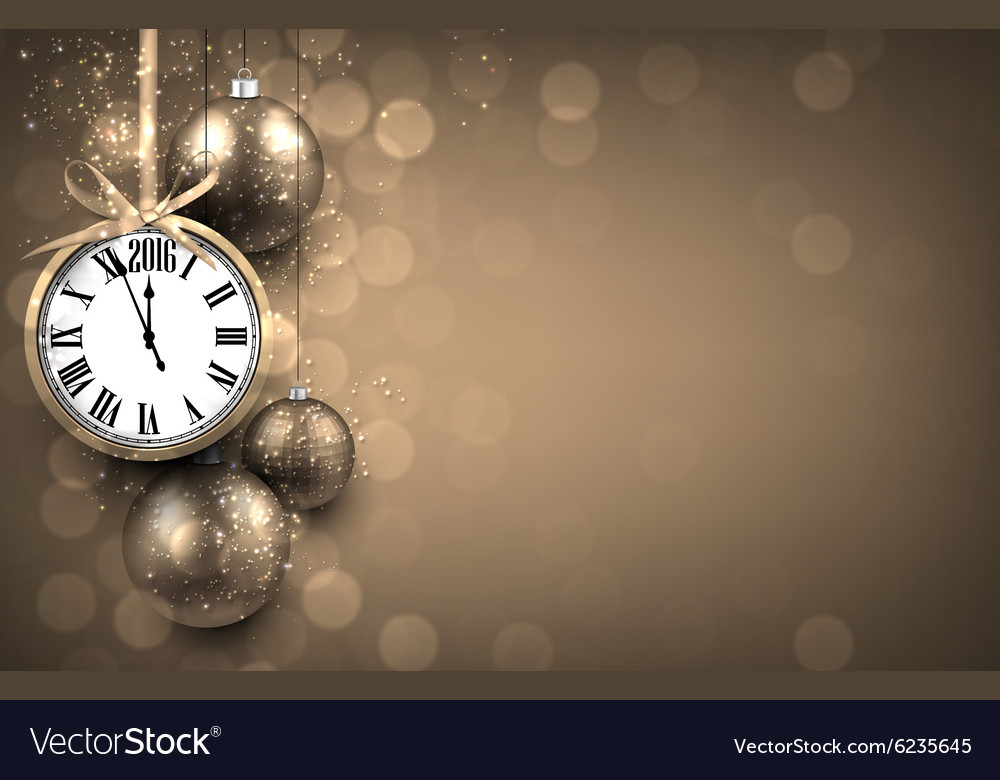 2016 New year golden background with christmas vector image