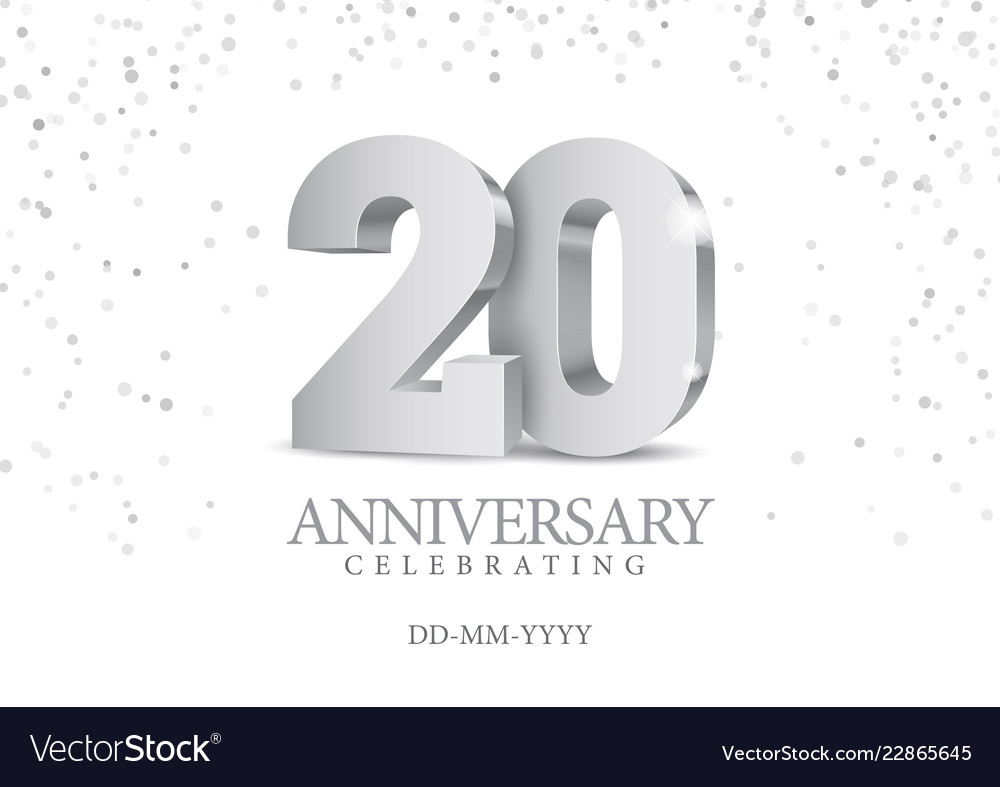 Anniversary 20 silver 3d numbers