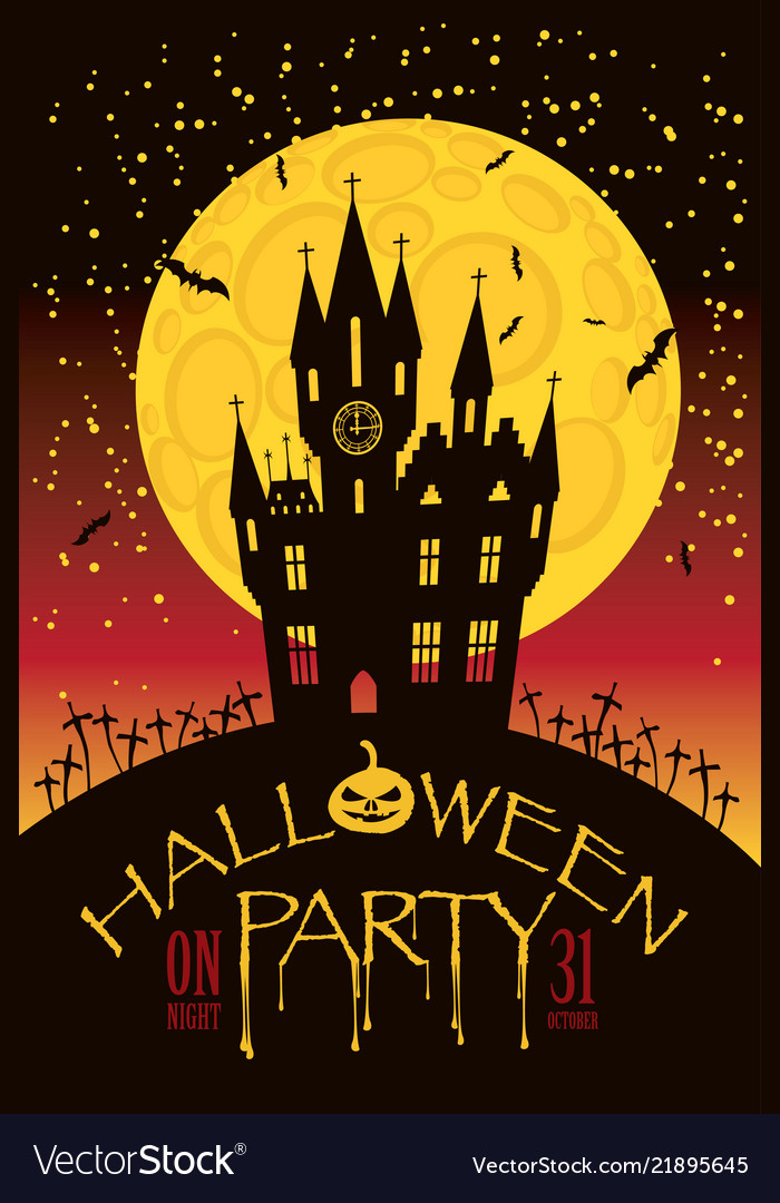 Banner for halloween with old gothic castle