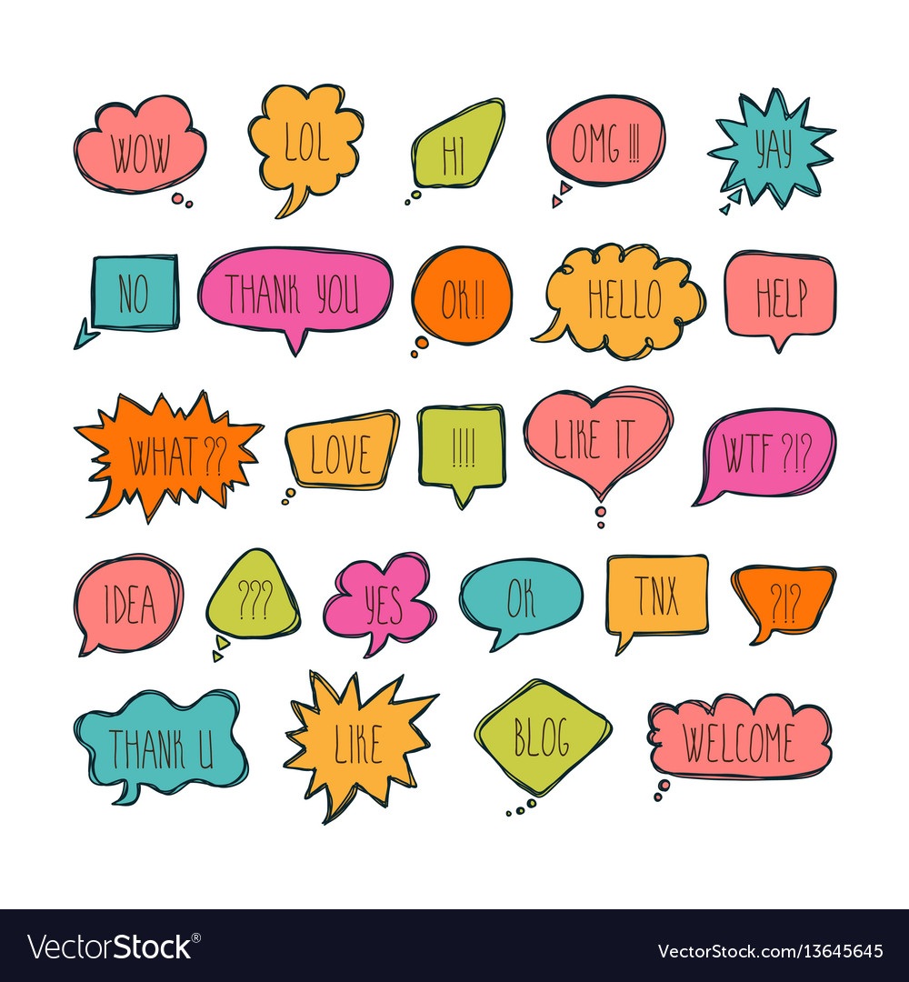 Big set of comic bubbles with short messages hand