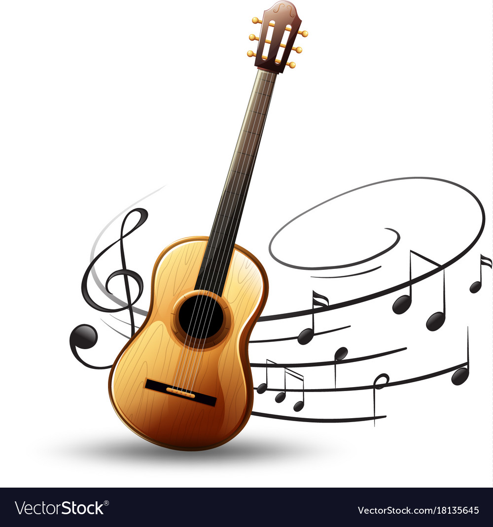 Classic Guitar With Music Notes In Background Vector Image
