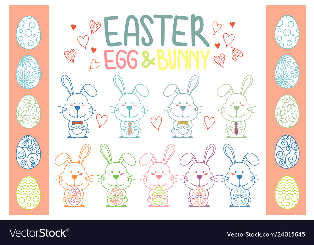 Collection of easter bunny and egg