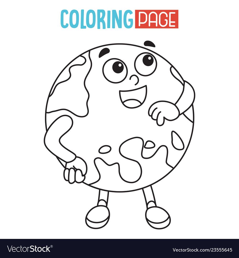 Earth Coloring Page Royalty Free Vector Image Vectorstock