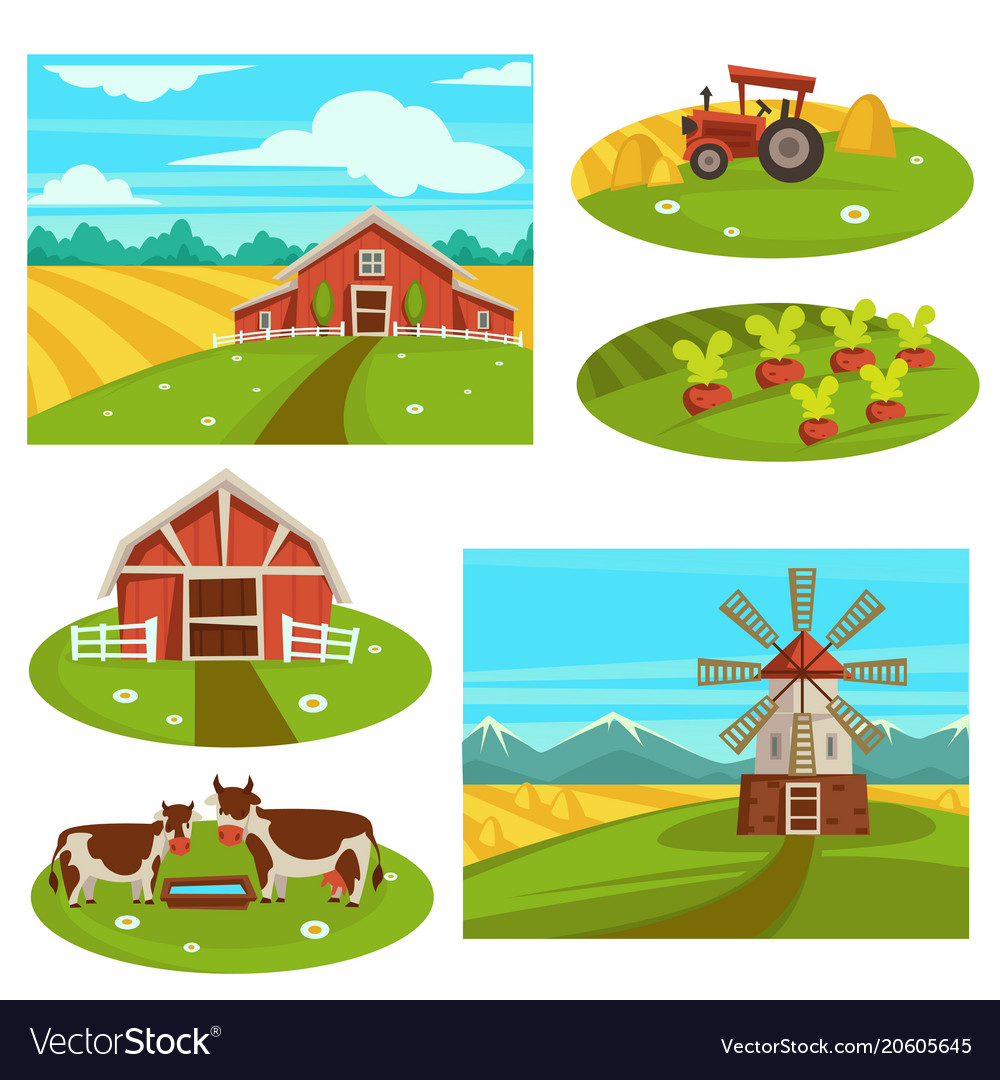Farm household or farmer agriculture flat vector image