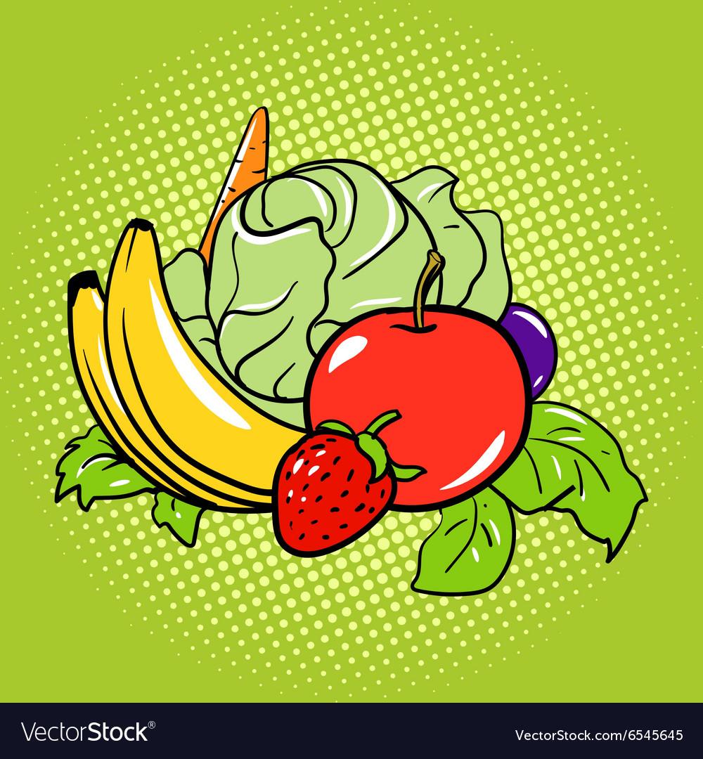 Healthy food vegetarian comic book style