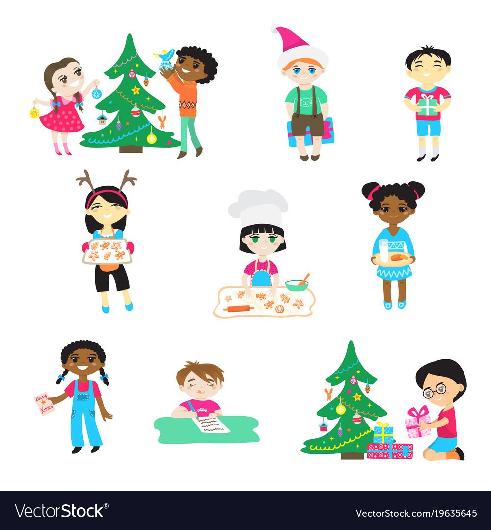 Kids on christmas cartoon characters boys