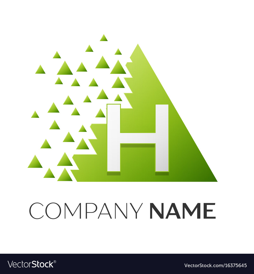 Letter h logo symbol in colorful triangle