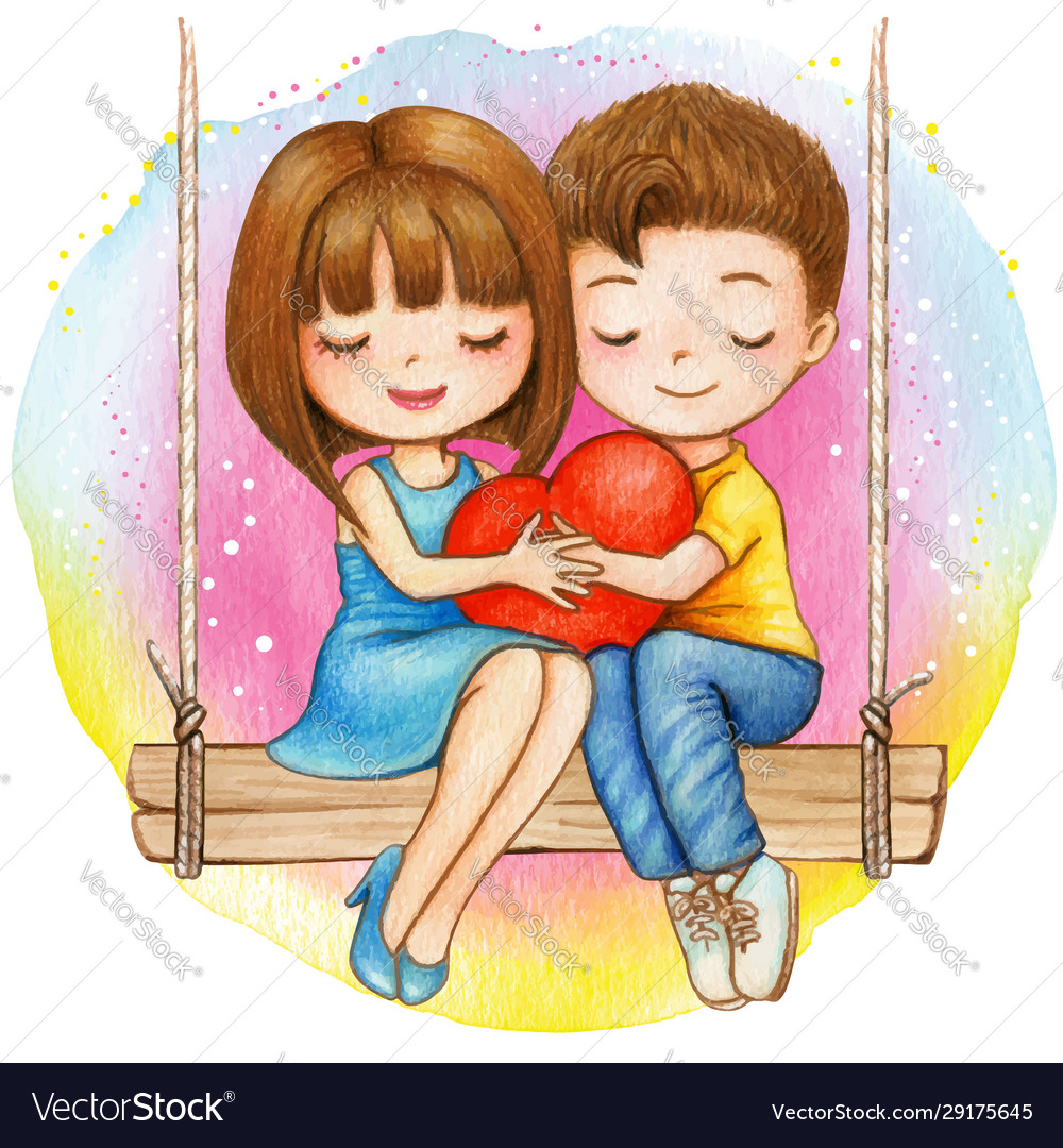 Lovely Couple Sitting On A Swing Royalty Free Vector Image