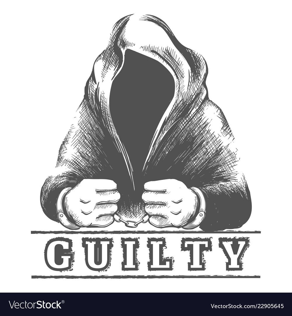 Man in hood in handcuffs