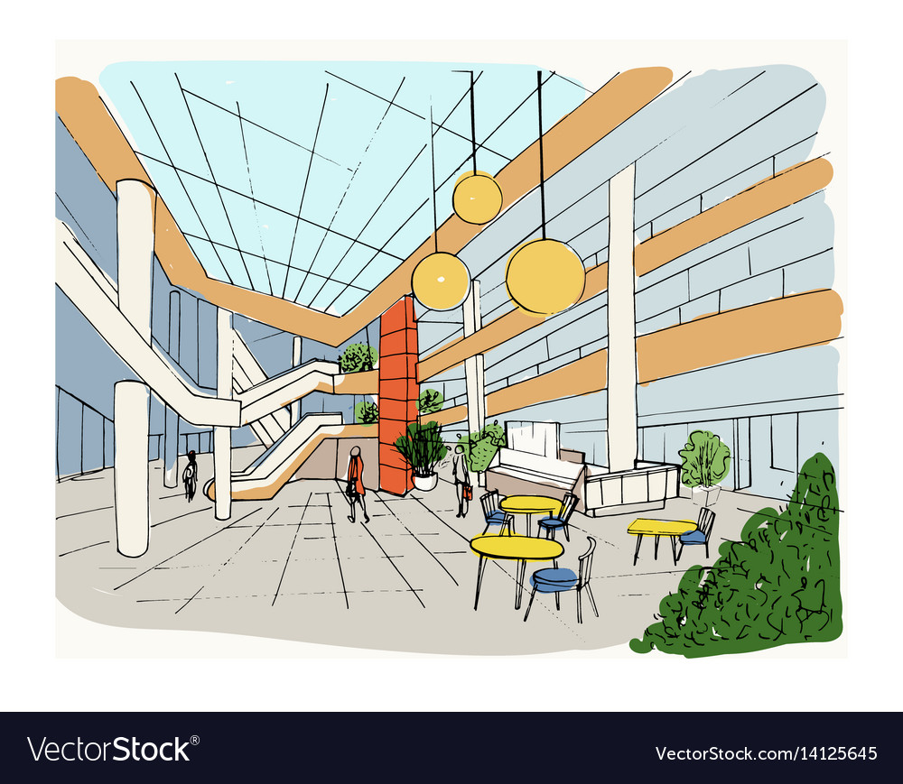 Modern interior shopping center mall colorful Vector Image